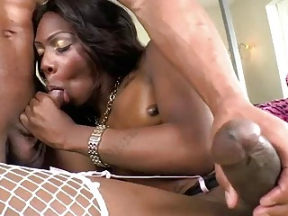 Hung ebony shemale babe rips poor boys tight little asshole