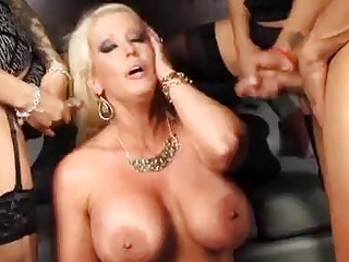Crazy blonde tranny fucks in the wildest foursome ever thrown