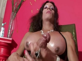 Captivating shemale pulls her dick out to wank it fast