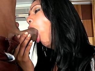 Thoughtful brunette gets her asshole drilled and sucks dick hard