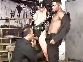 Lusty transvestite gets tied up in rope while fucked