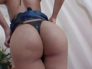 Blonde shemale strips and beats her hard meat