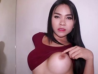 Gorgeous Thai Shemale Tata Mouth And Ass Fucked