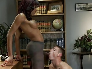Black TS gags young lad and fucks his ass brutally