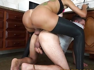 Shemale licks male ass and fucks it in doggy style