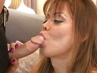 Sexy mature shemale Johanna B drills her young lover's ass