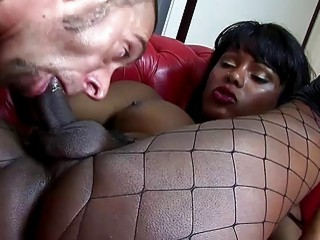 Mesmerizing tranny wearing fishnets and boots gets drilled quite hard