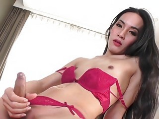 Hot t-girl in lingerie plays with her staff