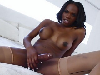 Huge titted ebony tgirl masturbates cock