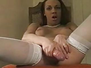 Beautiful tranny wanking her big cock
