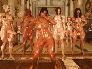 Voluptuous group of shemales love to watch their friend dance naked