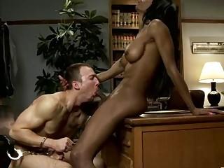 Fit ebony shemale barebacks a stud in her office