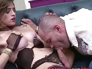 Aroused man sucks tranny's dick before trying anal