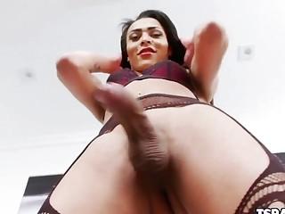 Latin Tgirl Louyse Hills Strokes Her Cock