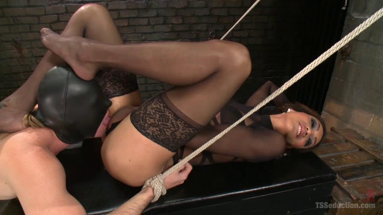 Shemale mistress shoves her big dick in slave boys ass ...
